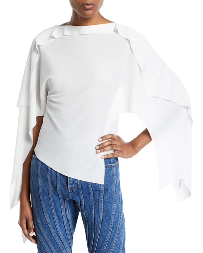 Ruffled Cape-Sleeve Asymmetric Blouse