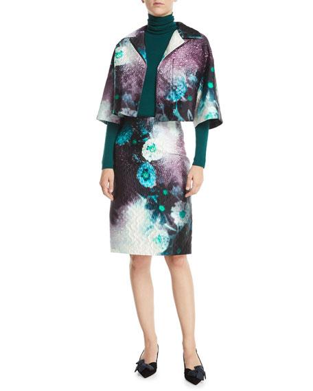 Watercolor Floral-Print Pencil Knee-Length Skirt