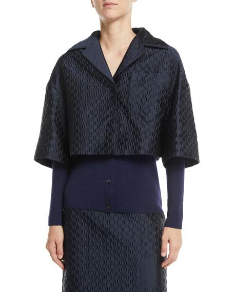 Prada Button-Front Elbow-Sleeve Cropped Jacquard Jacket