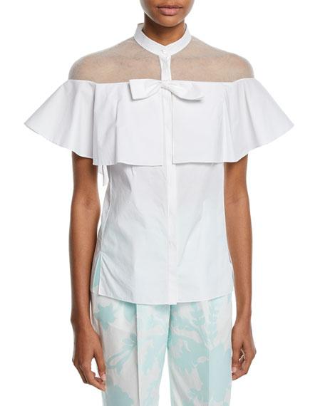 Delpozo Short-Sleeve Tulle-Inset Cape Cotton Blouse