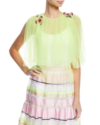 0ebe7d8dc71 Jewel-Neck Tulle Top w  Floral-Appliques Quick Look. Delpozo