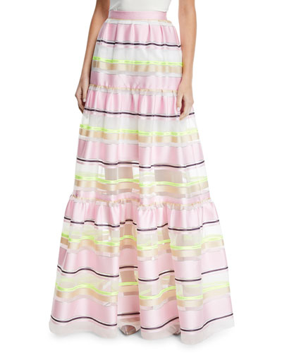 bbecbbed787 Striped-Organza Tiered Maxi Skirt Quick Look. Delpozo