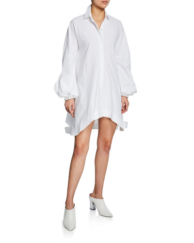 Puff-Sleeve Shirting Dress