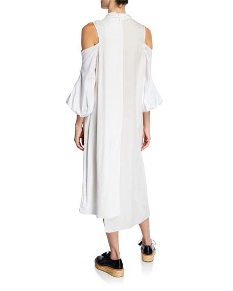 3/4-Sleeve Cold-Shoulder Mixed Dress