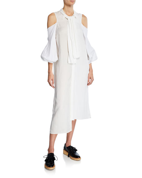 JW Anderson 3/4-Sleeve Cold-Shoulder Mixed Dress