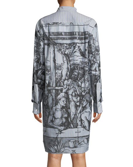 Scene Print Tie-Neck Shirtdress
