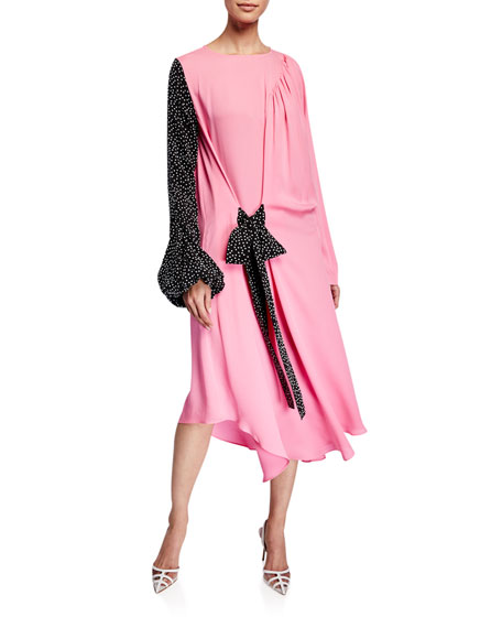 JW Anderson Mixed Georgette Belted Dress