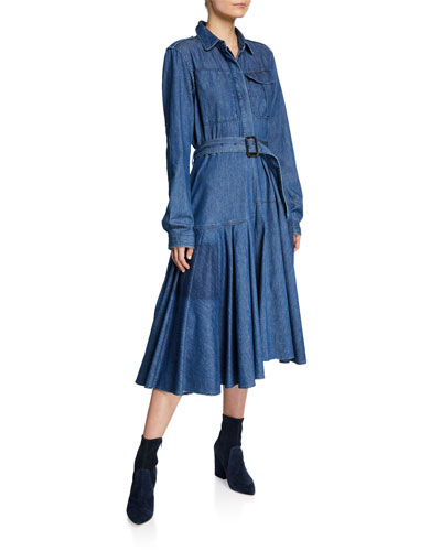 Belted Denim Twill Shirtdress