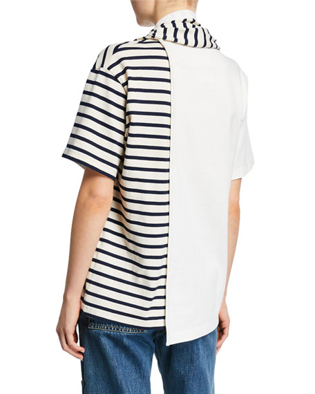 Striped Draped Scarf Tee