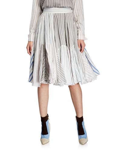 Pajama Striped Midi Skirt