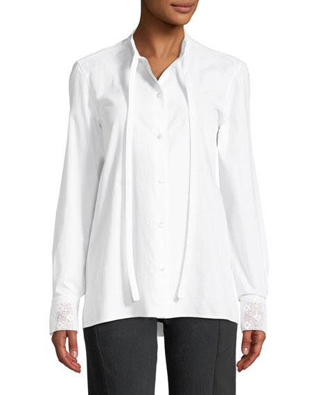 Lace-Collar Tie-Neck Button Front Blouse