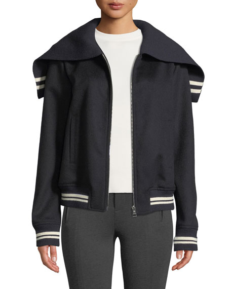 Caped Zip-Front Knit Bomber Jacket