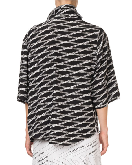 Logo-Striped 1/2-Sleeve Button Front-Top