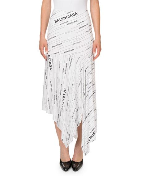 Balenciaga Draped Logo-Print Jersey Midi Skirt