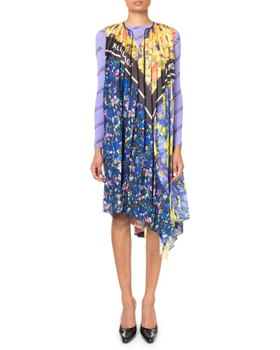 Floral and Logo Patchwork Midi Scarf Dress