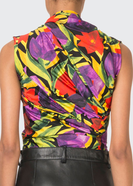 Sleeveless Painted Pansy Twist-Neck Top