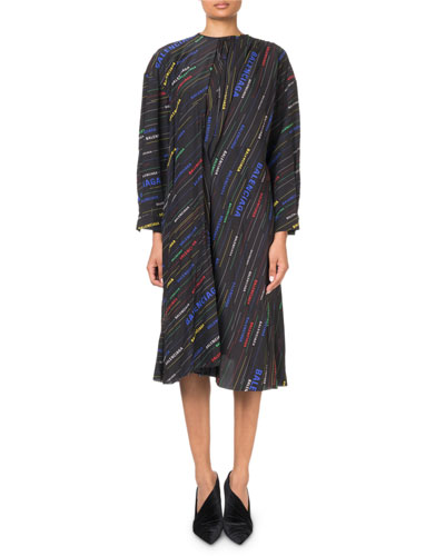 Multicolored Logo-Striped Long-Sleeve Dress