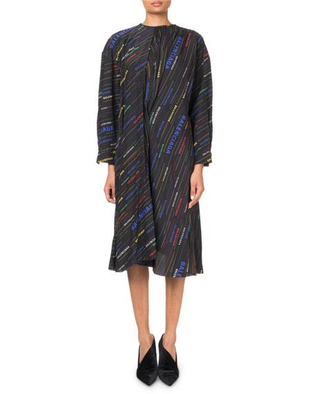 Multicolored Logo-Striped Long-Sleeve Dress