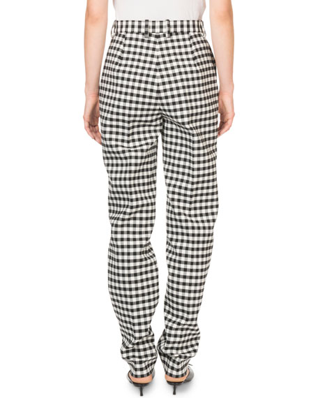 Mid-Rise Gingham Tailored Pants
