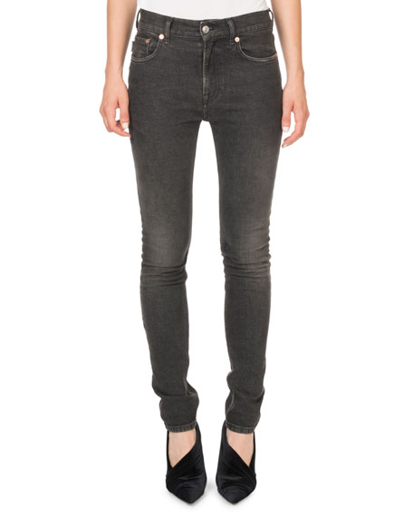 Mid-Rise Skinny Vintage-Denim Pants