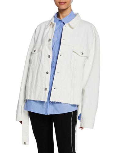 Oversized Vintage Cutout Denim Jacket  White