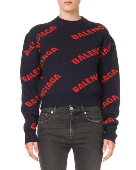 Balenciaga Crewneck Logo-Jacquard Sweater
