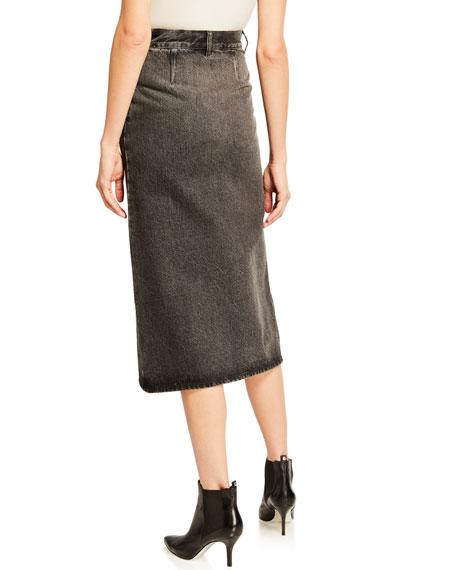 Vintage Front-Slit Denim Skirt