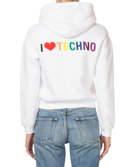 Zip Front I Love Techno Graphic Hoodie