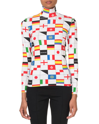 Multi-Flag Check Turtleneck Top