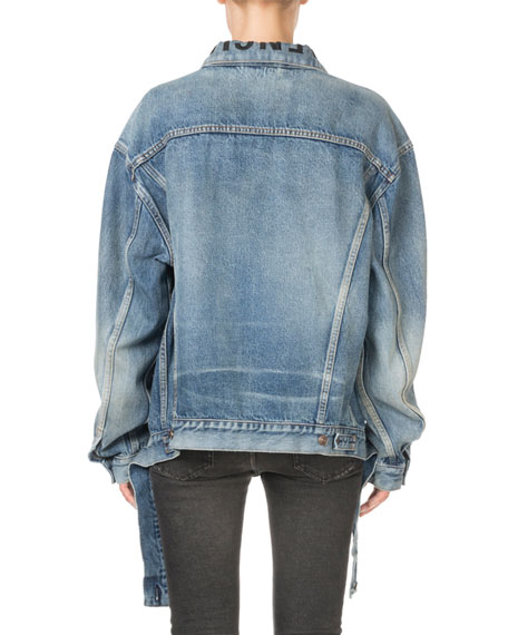 Oversized Vintage Cut-Waistband Denim Jacket