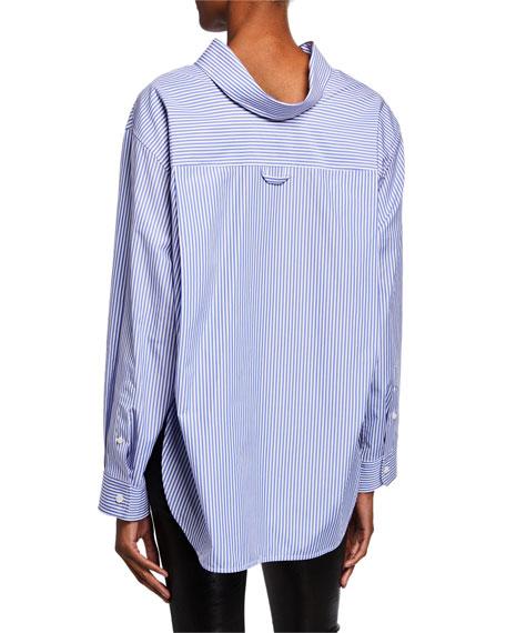 Striped Button-Down High-Low Blouse