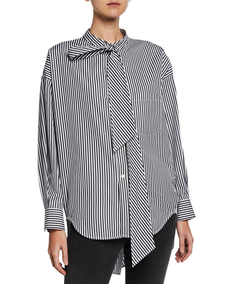 Striped Button-Front High-Low Top