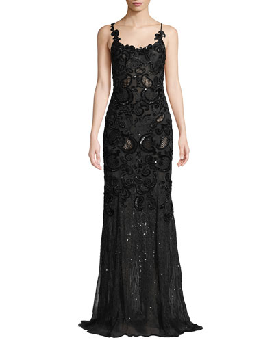 Sleeveless Scoop-Neck Embellished Evening Gown