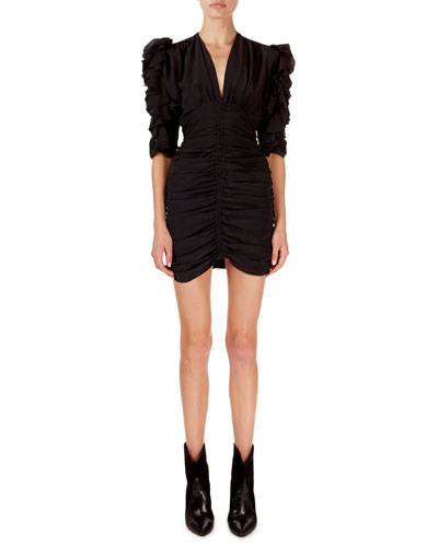 Andor Ruched-Seam Silk Mini Dress