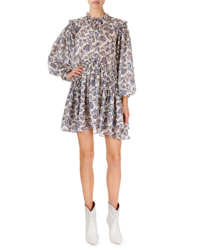 Navy Multi Siggt Printed Dress