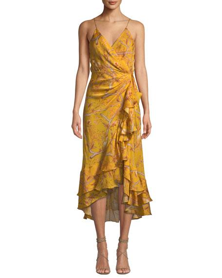 684b03cb8c9 Johanna Ortiz Sleeveless Floral-Print Ruffled Georgette Wrap Dress