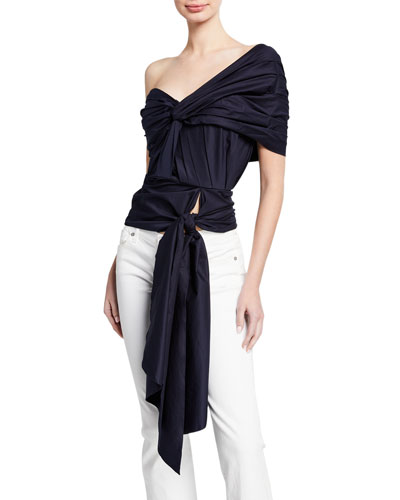 One-Shoulder Draped Asymmetric Top