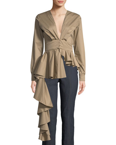 Draped Asymmetric V-Neck Khaki Blouse