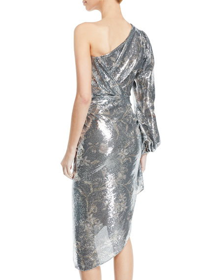 0f9721d2054 Johanna Ortiz Glassy Orchid One-Sleeve Sequin Cocktail Dress