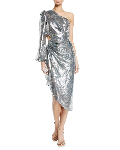 Glassy Orchid One-Sleeve Sequin Cocktail Dress