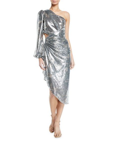Johanna Ortiz Glassy Orchid One-Sleeve Sequin Cocktail Dress