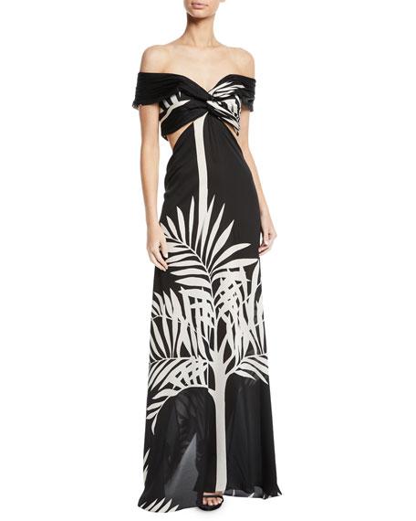 Palma Negra Palm-Print Georgette Gown