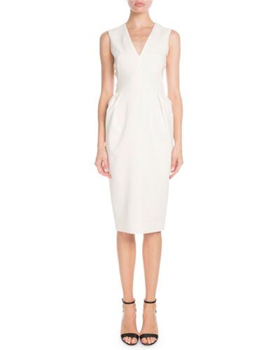 V-Neck Sleeveless Fitted-Waist Sheath Dress