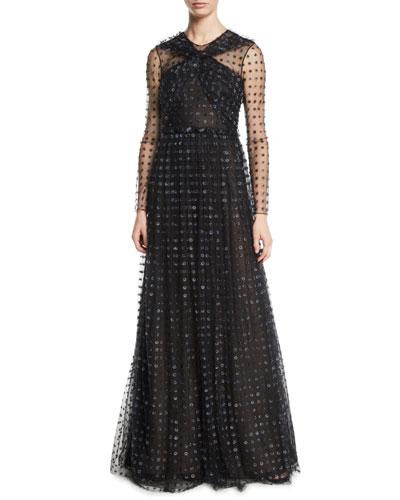 Organza Dot-Embroidered Tulle Evening Gown