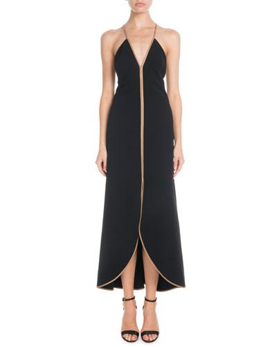 V-Neck Leather Cami-Straps Tulip Midi Dress