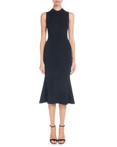 High-Neck Sleeveless Trompe L'oeil Knit Dress