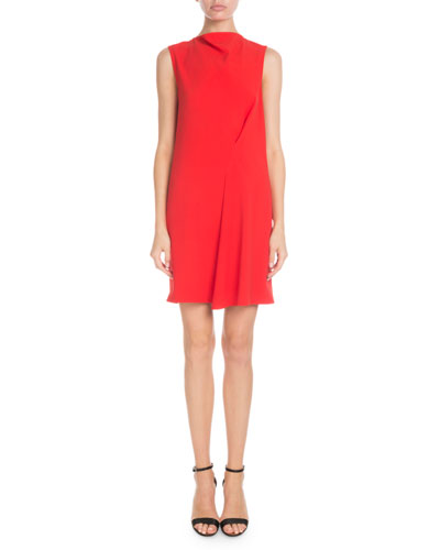 High-Neck Sleeveless Side-Drape Tunic Dress