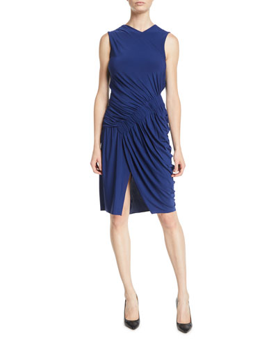 Ruffled-Front Sleeveless Fluid Evening Jersey Sheath Dress