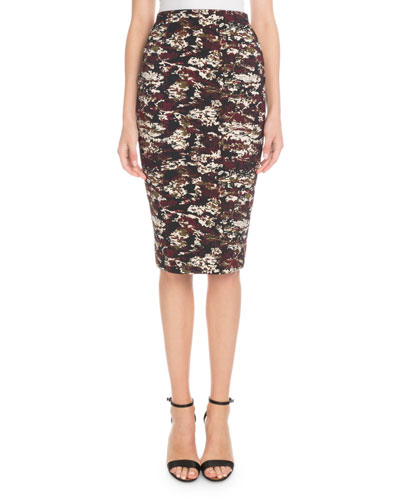 Printed Knee-Length Pencil Skirt