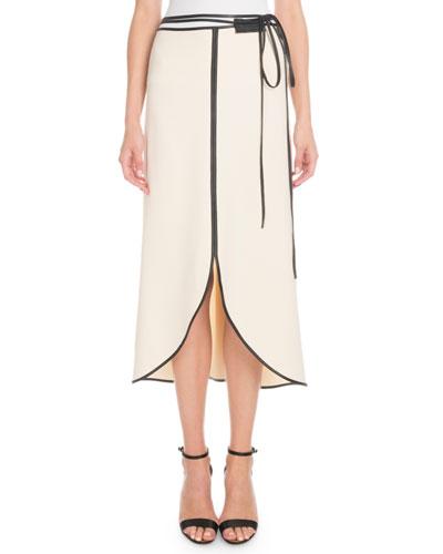 Leather-Trim Tie-Waist Tulip Midi Skirt